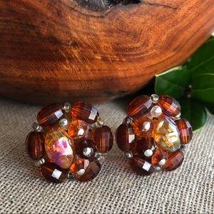Vtg W. Germany Brown Aurora Borealis Clip Earrings
